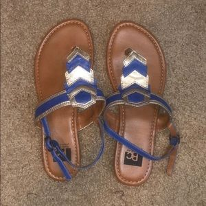 BC Sandals Blue and Gold Chevron